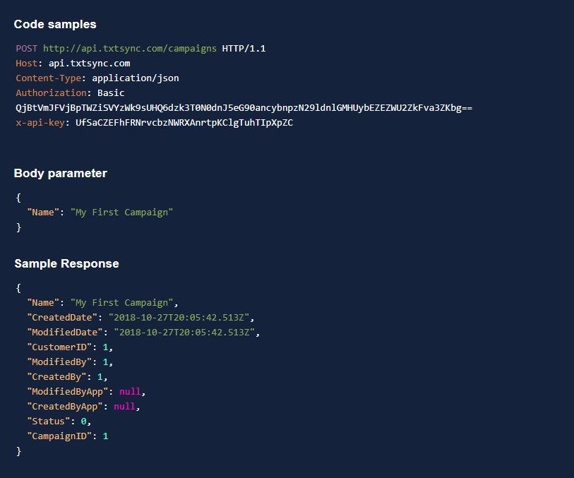 SMS API Code Example