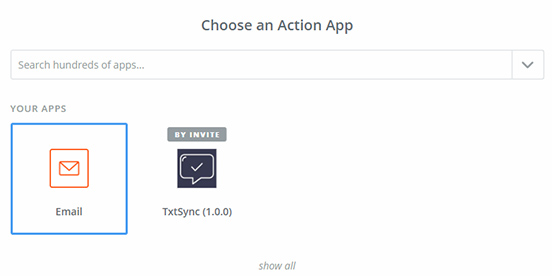selectActionApp - Zapier