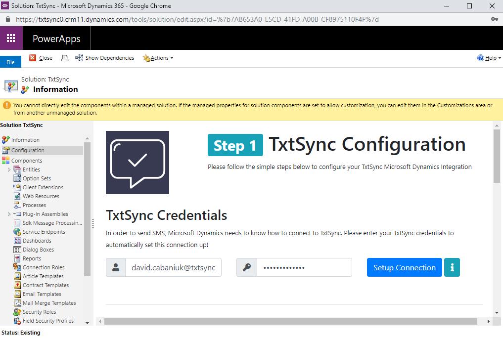 Configure TxtSync