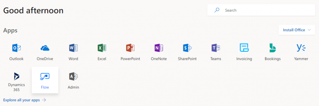 Select Flow in Office365