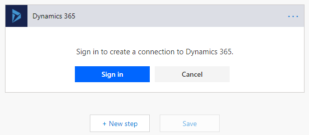 Microsoft Flow - Sign in to Dynamics 365